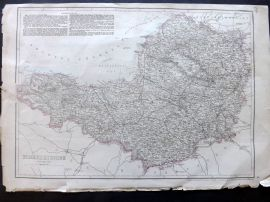 Weekly Dispatch C1860 Antique Map. Somersetshire, UK